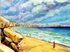 OFF MARIPOSA  water color San Clemente Ca. 11″ x 16″ 4-12-16