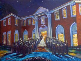GREEN WEDDING Sparkler Send Off  (studio)  Seversky Mansion  Old Westbury New York.  oil 30″ x 40″