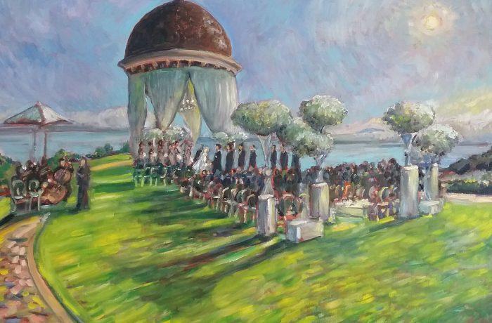 The De Marsh Palmeri Wedding Ceremony  Pelican Hill Newport Coast, Ca. oil 30″ x 40″ 11-5-16