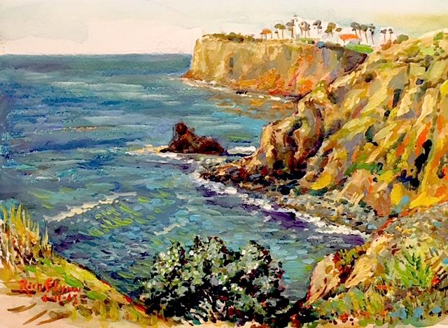 Palos Verdes Off of Terranea Resort      watercolor  15″ x 18″  1-12-18