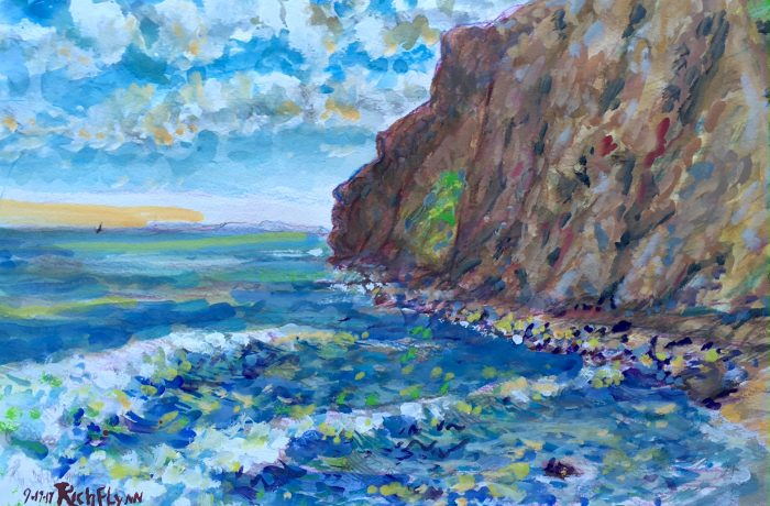 THE POINT  Dana Point Ca.  Watercolor  12″x16″  9-17-17