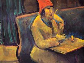 WOMEN IN A RED HAT     WATERCOLOR  9″ X 12″  5-7-2020