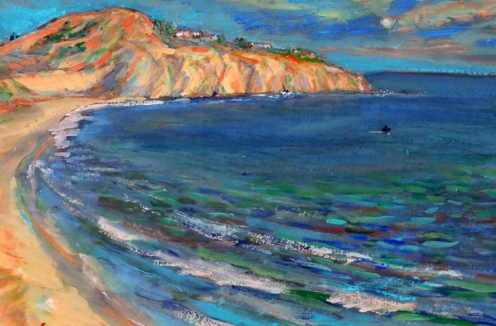 REEF POINT  Newport Coast CA,  WATER COLOR  15″ X 10″ 5-10-15