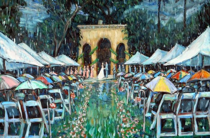 Brianna & Kyle's Wedding Ceremony  Pasadena, Ca.  Gift to the Bride and Groom  (studio piece)  30″ x 40″ 7-29-15