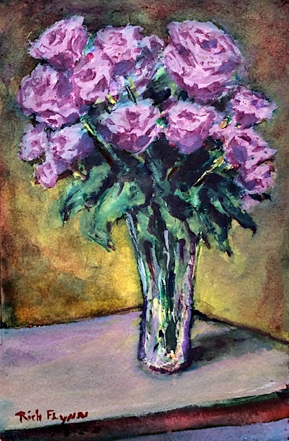 ROSES  WATERCOLOR  9″ X 5″  7-8-2020 SOLD