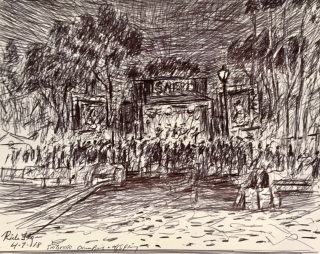 BAND OFFSPRING PERFROMING AT THE SABROSO FESTIVAL  DANA POINT   INK  12″ X 6″  ONE HOUR SKETCH    4-7-18
