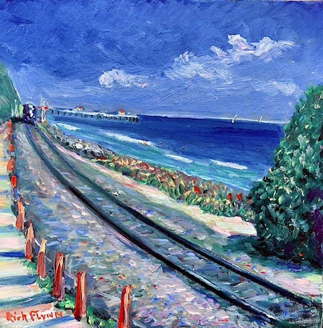 San Clemente Coast  train     oil   14″ x 14″  6-14-2020