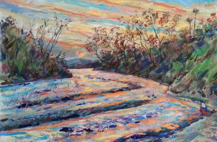 San Juan Creek  San Juan Capistrano Ca.  watercolor  14″ x 18″  2-11-17
