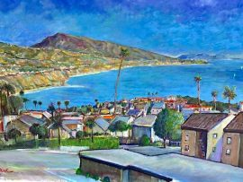 SELVA ROAD VIEW   DANA POINT CA   WATERCOLOR    53″ X 35″   COMMISSIONED  3-10-2021