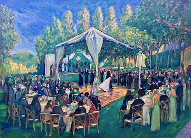 O'Shea Wedding Reception (studio) Shady Canyon Golf Club  Irvine Ca.   oil  30″ x 40″   6-16-19
