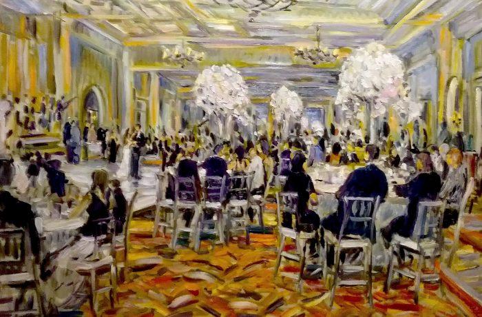 THE SIMKIN WEDDING  Estancia Hotel San Diego Ca.  oil  30″ x 40″ 5-13-17