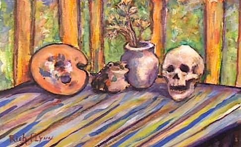 A SUNDAY STILL LIFE   Watercolor  6′ x 9″ 7-14-19