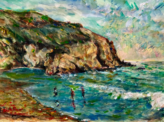 STRANDS BEACH   DANA POINT CA.   WATERCOLOR   16″ X 12″  COMMISSIONED  9-9-2021