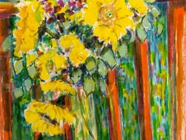 SUNFLOWERS  WATERCOLOR  12″ X 16″  11-20-17