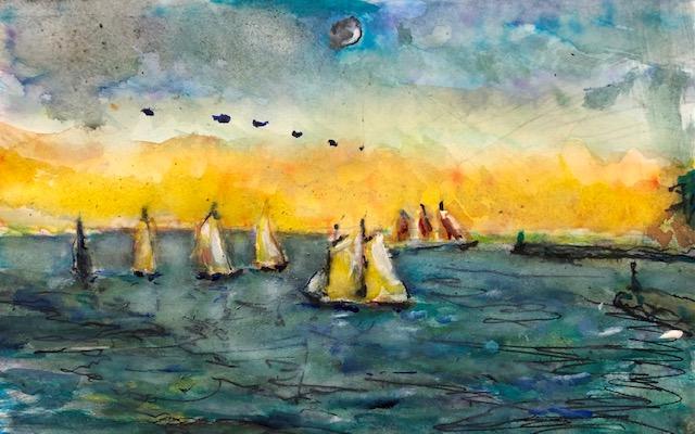 TALL SHIPS       Dana Point Ca.   Watercolor    7″ x 11″  9-10-2021