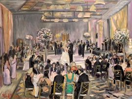 THE LONG -LARKIN WEDDING RECEPTION  LIVE PAINTING    TERRANEA RESORT PALOS VERDES CA.  oil  30″ x 40″  11-10-18