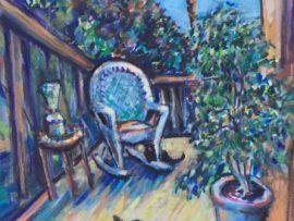 THE BALCONY   watercolor  12″ x 16″   11-19-17