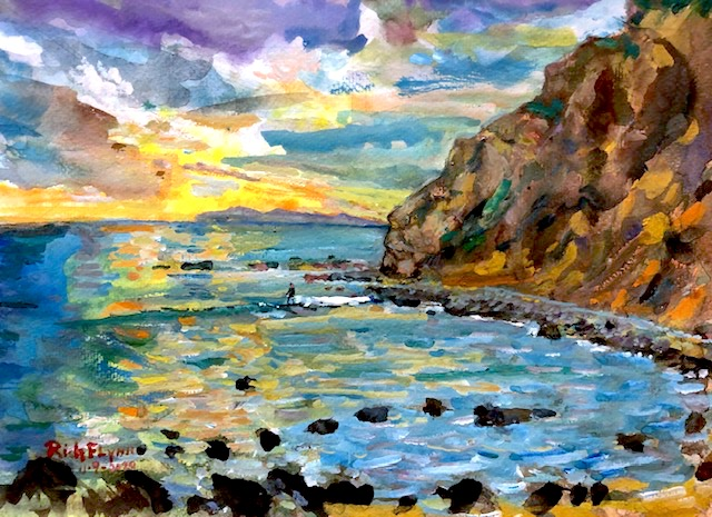 THE POINT  DANA POINT CALIFORNIA    WATERCOLOR  9″ X 12″ 11-9-2020