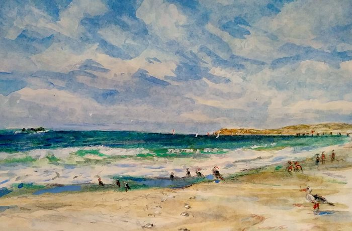 """A DAY AT THE BEACH WITH VIN SCULLY""""S LAST BROADCAST.  watercolor  San Clemente State Park Beach  12″ x 15″  10-2-16"""