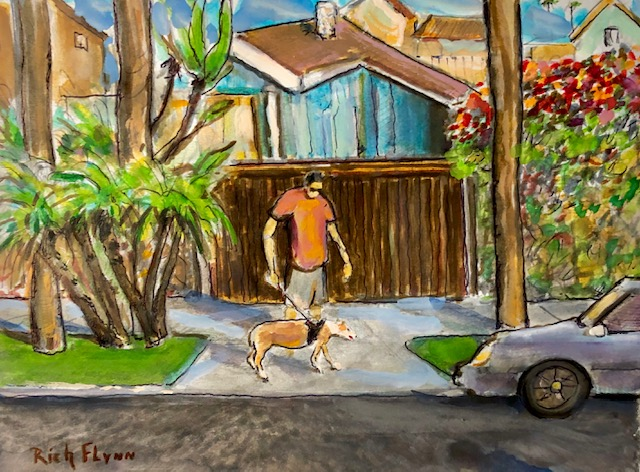 Neighbor Walking Old Belle Dog   Dana Point Ca.  watercolor  12″ x 10″  10-29-19